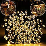 Addlon Solar LED String Lights Christmas Lights,72ft(22m) 200 LED 8work Modes,Ambiance lighting for Outdoor, Patio, Lawn, Landscape, Fairy Garden, Home, Wedding, Holiday, Christmas Party, Xmas Tree,waterproof (Warm White)