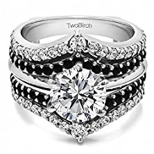 buy Wedding Ring Guard Set Includes: 1 Ct. Round Cz Solitaire With 14K White Gold Guard With Black And White Diamonds