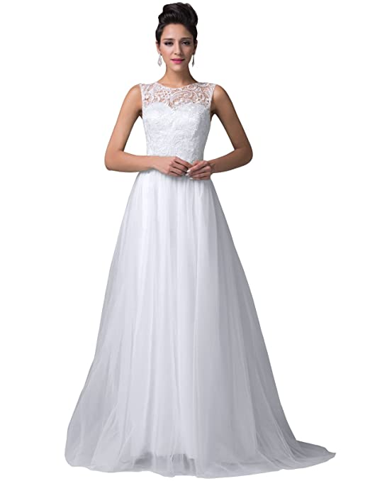 Grace Karin® Women's Pure White Lace Tulle Prom Ball Gowns Evening Dresses CL6108-3 (16)