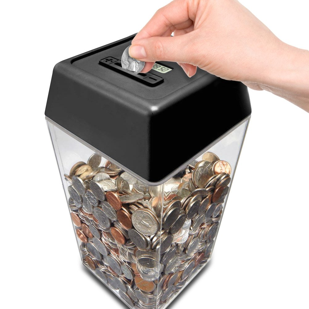 New perfect solutions digital coin counting countdown bank money jar box free ebay - Coin bank that counts money ...