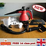 Electric Handheld Steam Cleaner Portable Hand Held Powerful Steamer Cleaning Set with accessories (Red, steam cleaner)