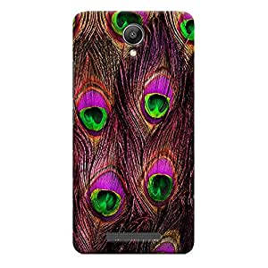 ColourCrust Xiaomi Redmi Note 2 Mobile Phone Back Cover With Peacock Feather Pattern Style - Durable Matte Finish Hard Plastic Slim Case