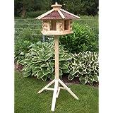 Vogelhaus Vogelhäuser (V47+S1)Vogelfutterhaus Vogelhäuschen-aus Holz- -Schreinerarbeit- Schwarz sehr Groß mit...