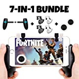 Fortnite PUBG Mobile Game Controller Bundle for iPhone iOS 6, 6 Plus, 6S, SE, 7, 7 Plus, 8, 8 Plus, iPhone X, and Android Phones with Mobile Gamepad, Mobile Claw Triggers, and Mobile Joysticks