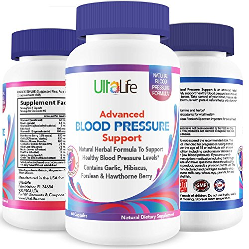 UltaLife's Advanced Blood Pressure Supplements are the BEST HIGH BLOOD PRESSURE PILLS to Lower BP Naturally with Potent Vitamins & Herbs including Garlic, Hawthorn Berry & Forskolin for Weight Loss, Stress Reduction & Heart Health (Super Vitamina B12 compare prices)