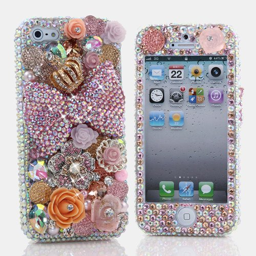 Special Sale BlingAngels® 3D Luxury Bling iphone 5 5s Case Cover Faceplate Swarovski Crystals Diamond Sparkle bedazzled jeweled Design Front & Back Snap-on Hard Case + FREE Premium Quality Stylus and Water-Resistant Bag (100% Handcrafted by BlingAngels) (Large Bow with Golden Crown Design)