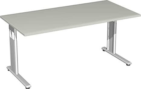 Gera Meubles de 617103S LG/SI Bureau Lisbonne, 160x 80x 68–82cm, gris clair/Argent