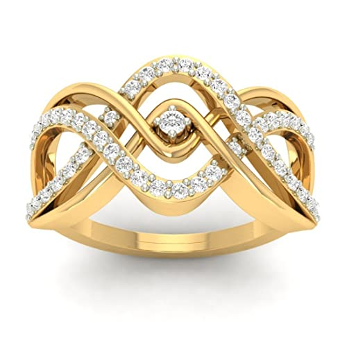 18K Yellow Gold 0.36cttw Round-Cut-Diamond (F-G Color, VS Clarity) Diamond Ring