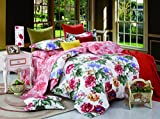 Bianca Chantal Chantal Cotton Double Bedsheet with 2 Pillow Covers - King Size, Red (BED351)