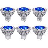 Blue MR16 LED Light Bulbs with GU5.3 Base 50W Equivalent Halogen Replacement 5W 12V Bi-pin Spotlight 38 Deg Landscape Pool Step Lighting-6 Packs (Color: Blue, Tamaño: MR16 Standard Size)
