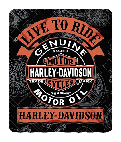 Harley-Davidson Biker Style Fleece Throw Blanket 50