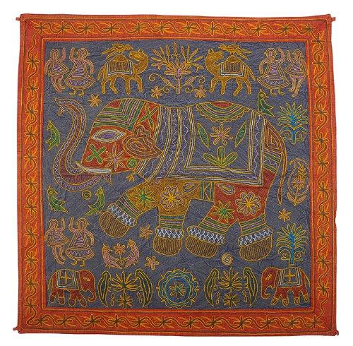 Imagen 2 de Elephant algodón Tapices de pared colgante con tamaño del bordado de trabajo 34 x 34 pulgadas