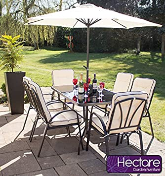 Hadleigh 6 Seater Steel Garden & Patio Outdoor Furniture Set by Hectare