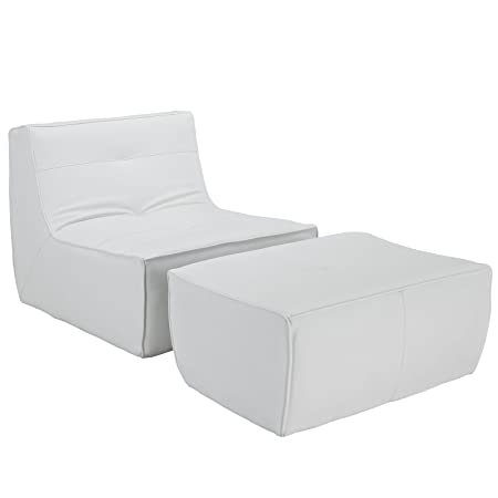 LexMod Align 2 Piece Bonded Leather Armchair and Ottoman Set in White