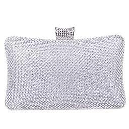 Fawziya Big Evening Bags For Women Rhinestone Crystal Clutch Bag-Silver