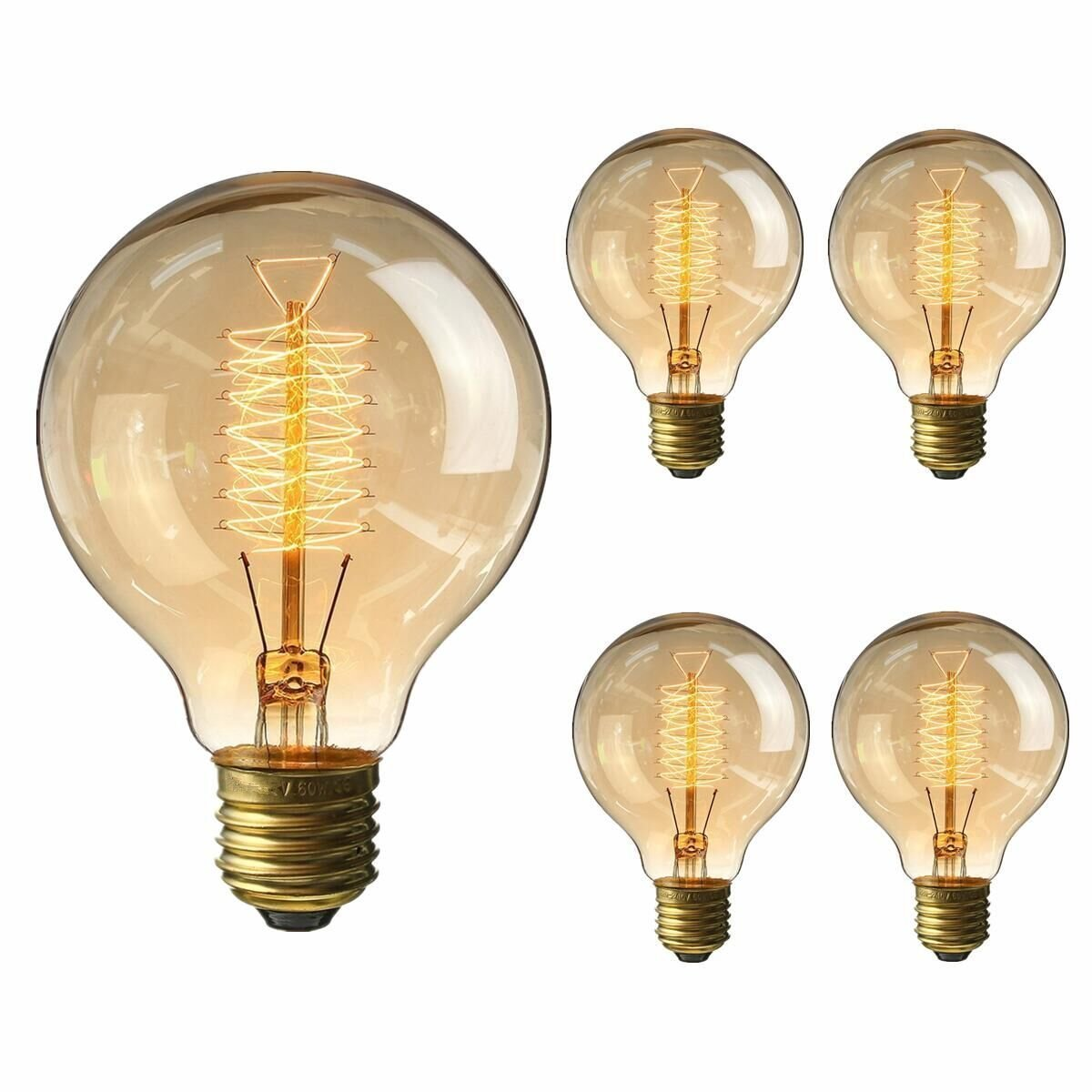 KINGSO Vintage Edison Bulb 60W Incandescent Antique Dimmable Light Bulb Squirrel Cage Filament E27 Base G80 110V
