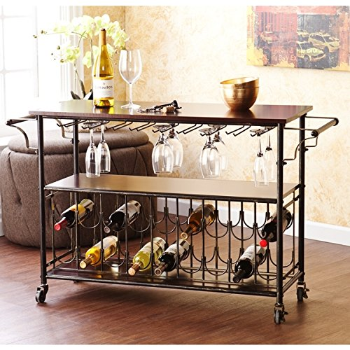 Tuscany Espresso/ Black Wine/ Bar Cart Serving Table Includes Nine (9) Hanging Glass Racks for Approximately 18 to 22 Glasses (Bar Nine Coffee compare prices)