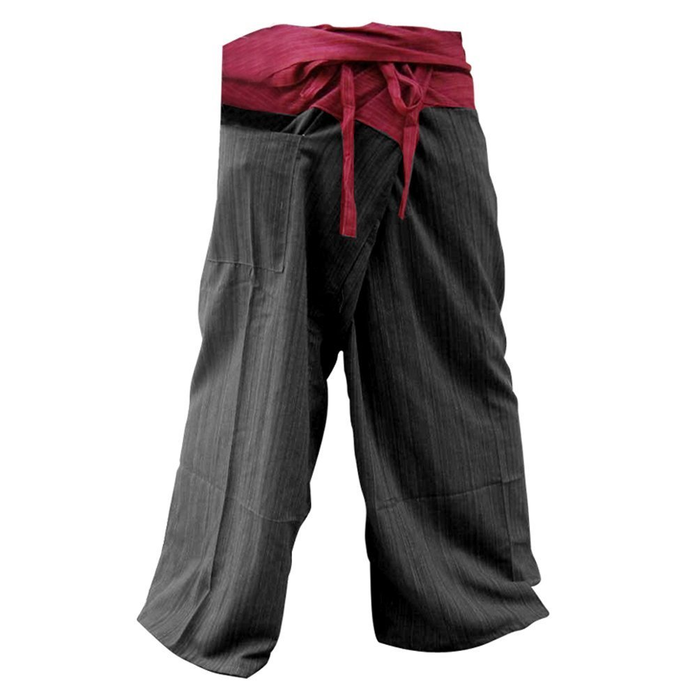 UNISEX 2 Tone Thai Fisherman Pants Yoga Trousers Free Size Cotton Red and Black zenza little pear