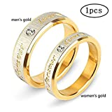 Tcbasrt 1 pcs 18K Gold Men Women Stainless Steel Forever Love Couple Ring Wedding Engagement Band Top Ring (women's gold, 10) (Color: women's gold)