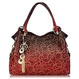 Women Hollow Out Bags Ladies Elegant Carved Tassel Shoulder Bags (Red)