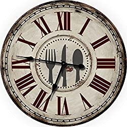 24 Fork Knife Spoon Large Wall Clock Oversized Wall Clocks Decorative Wall Clock Perfect for Antique Clocks Vintage Clocks Shabby Chic Country Decor Rustic Decor Look Wood Wall Clock Kitchen Clocks