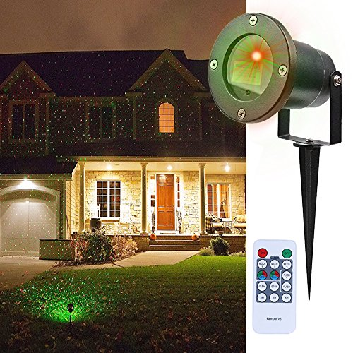MEGAVISION IP65 Waterproof Low Voltage Star Laser Projector Outdoor Christmas Red Green Laser Landscape Lights LED Firefly Spotlight with Wireless Remote Control (Wireless Remote Spotlight compare prices)
