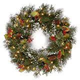 National Tree Wintry Pine Wreath With Cones, Red Berries And Snowflakes, 24-Inch, 50 Clear Lights