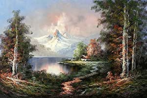 Diyuniquecase distant snow capped mountains for Oil paintings for sale amazon