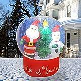 4'Airblown Inflatable 6' Snow Globe With Snowman & Santa
