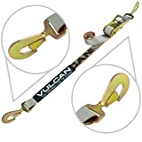Vulcan Silver Series Snap Hook Auto Tie Down With Twisted Snap Hook Ratchet - 3300 lbs. SWL (96'') (Color: Silver, Tamaño: 96'')