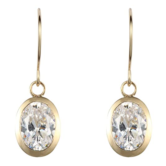 9ct yellow gold white cubic zirconia oval drop earring