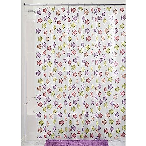 InterDesign Novelty EVA Shower Curtain, 72 x 72-Inch, Fishy, Pink ...