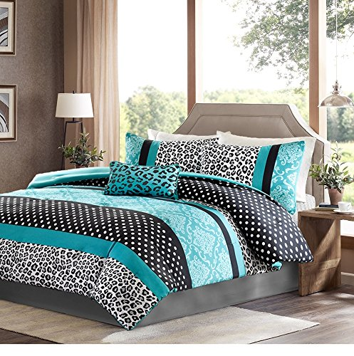 Girls Bedding Set Kids Teen Duvet Cover Turquoise Black White Leopard and Damask Print with Polka Dots Stripes and Accent Pillow. Includes Bonus Sleep Mask From Designer Home (Full/Queen)