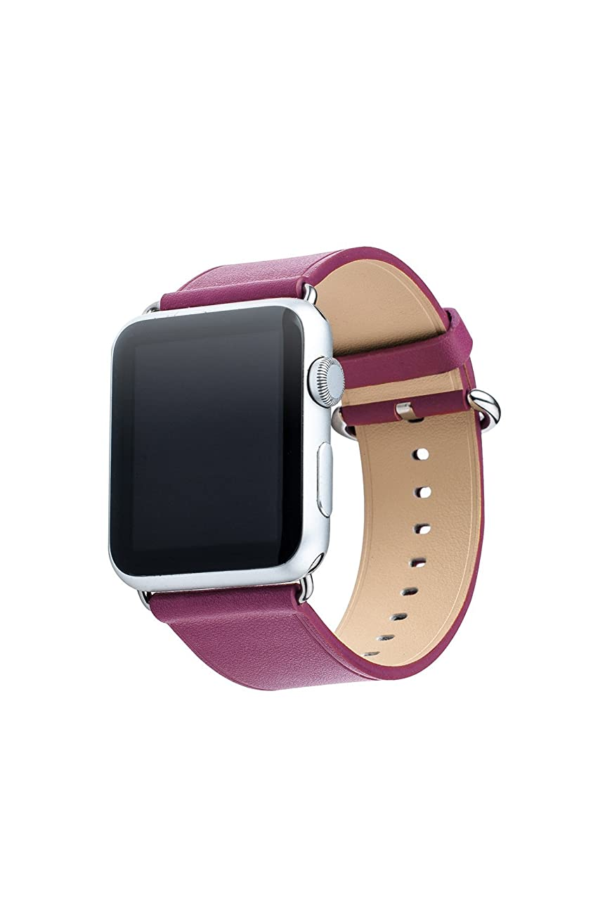Apple Watch Band, Aisun® Vintage Embossed Genuine Leather strap Wrist Band Replacement with Metal Clasp for Apple Watch All Models (Fuchsia 38mm) 0