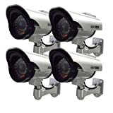 Henxlco 4Pack Dummy Solar Security Camera Fake Flashing Light Infrared LED CCTV Surveillance (Color: 4Pack)
