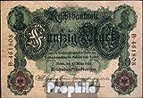 billetes para coleccionistas: alemán Imperio Rosenbg: 25a, 6stellige Kontrollnummer usado 1906 50 marcos