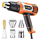 REXBETI 1800W Heat Gun, Portable Hot Air Gun 140?-1210? with 2 Air Flow, Fast Heating in Seconds, 5 Accessories for Heat shrink tubing, Wrapping Drying Painting, Over-heat Protection