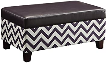 Ave Six Hudson Storage Ottoman in Zig Zag Plum