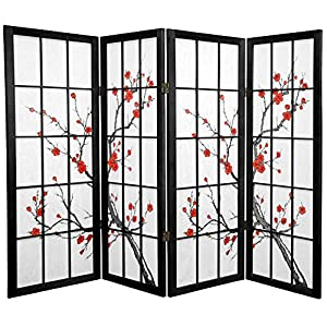 Oriental Furniture Unique Fireplace Screen, 48-Inch Low Cherry Blossom Shoji Screen Room Divider, Black 4 Panel