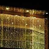 Fuloon 3M x 3M 300 LED Outdoor Party christmas xmas String Fairy Wedding Curtain Light 8 Modes for Choice 110V (Warm White)