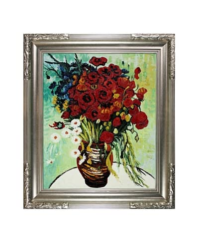 Vincent Van Gogh's Vase With Daisies And Poppies Framed Hand Painted Oil On Canvas