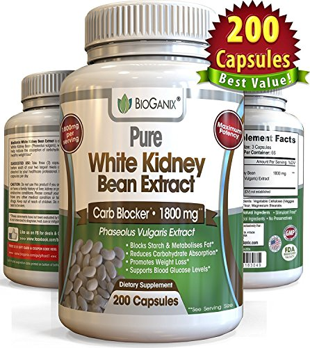 100-Pure-White-Kidney-Bean-Extract-1800mg-200-Capsules-Best-Phase-2-Carb-and-Fat-Blocker-Starch-Intercept-Supplement-For-Weight-Loss-More-potent-than-500mg-1000mg-or-1500mg-Powder-or-Liquid