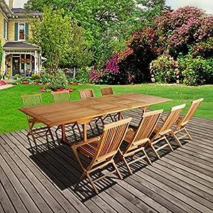 salon de jardin barcelone rectangulaire 8 chaises teck. Black Bedroom Furniture Sets. Home Design Ideas