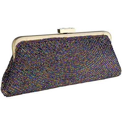 Purple Chic Metallic Swirled Pattern Hand Beaded Rhinestones Closure Framed Evening Bag Clutch Purse Handbag with 2 Detachable Shoulder Chains
