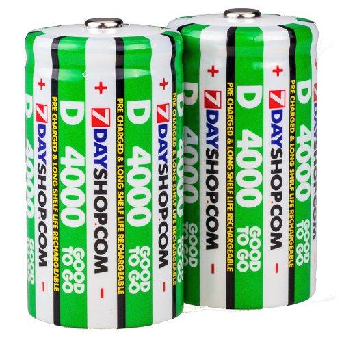 7dayshop Lot de 2 piles D NiMh rechargeables pré-chargées HR20/MN1300 4000 mAh