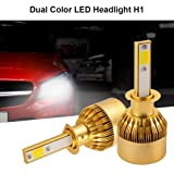 XCSOURCE 2pcs 10000LM 55W Dual Color LED Car Headlight H1 Halogen Lamp Bulb Built-in Cooling Fan Cool White+Yellow/Amber LD1200