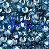 MajorCrafts 1,000pcs 3mm ss12 Light Sapphire Blue Flat Back Resin Rhinestones, Beads, Gems