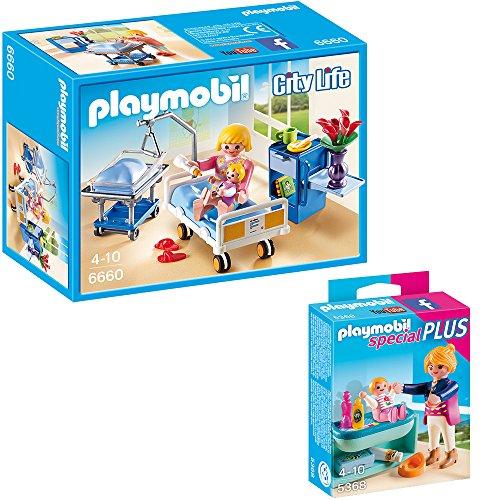 PLAYMOBIL® City Life Die freundliche Kinderklinik 2-tlg. Set 6660 5368 Krankenzimmer mit Babybett + Mutter mit Baby-Wickeltisch