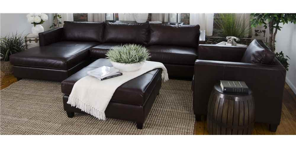 4-Pc Leather Sectional Set in Cappuccino
