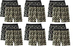 Hanes Men\'s 12Pack Camo Exposed-Waistband Boxer Shorts Boxers Underwear S